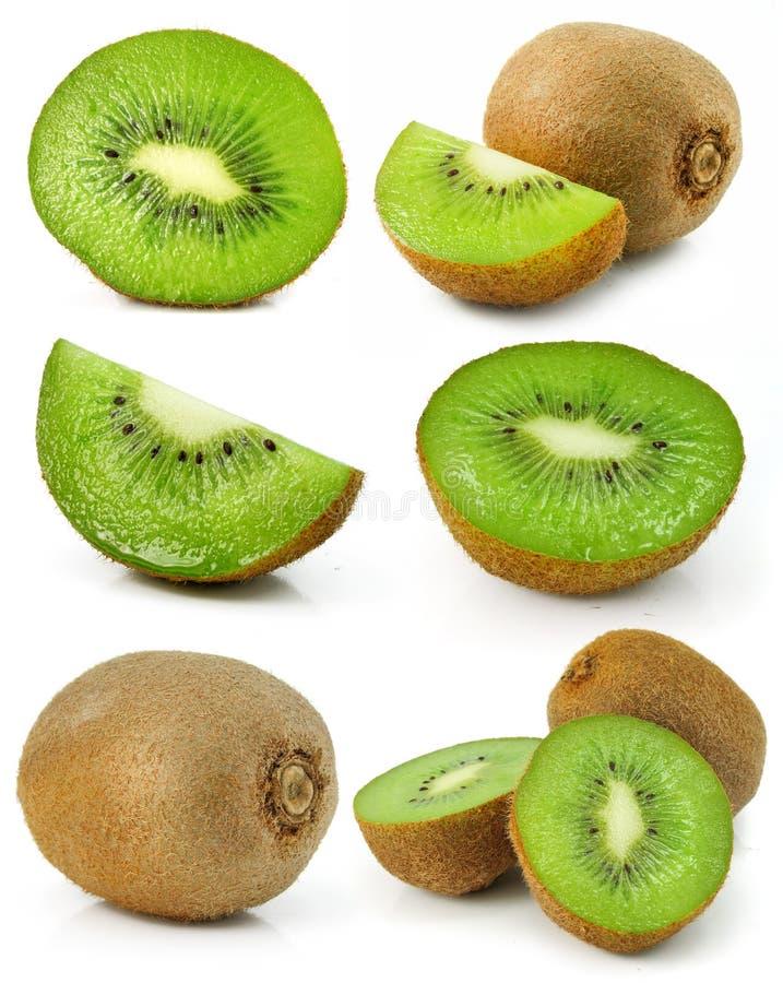 Collection of fresh kiwi fruits isolated stock images