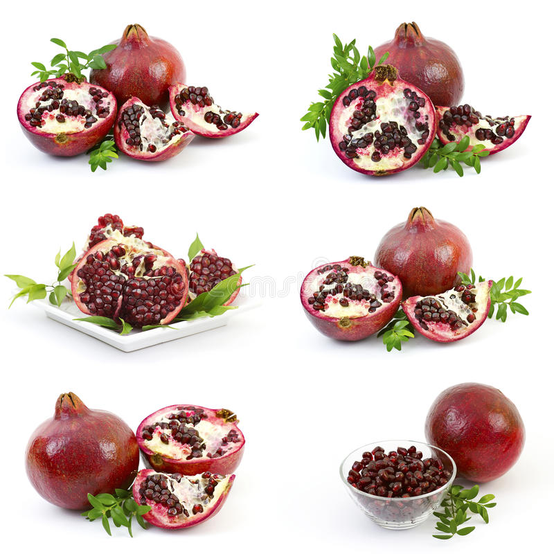 Collection Of Fresh Pomegranate Fruits Stock Photography