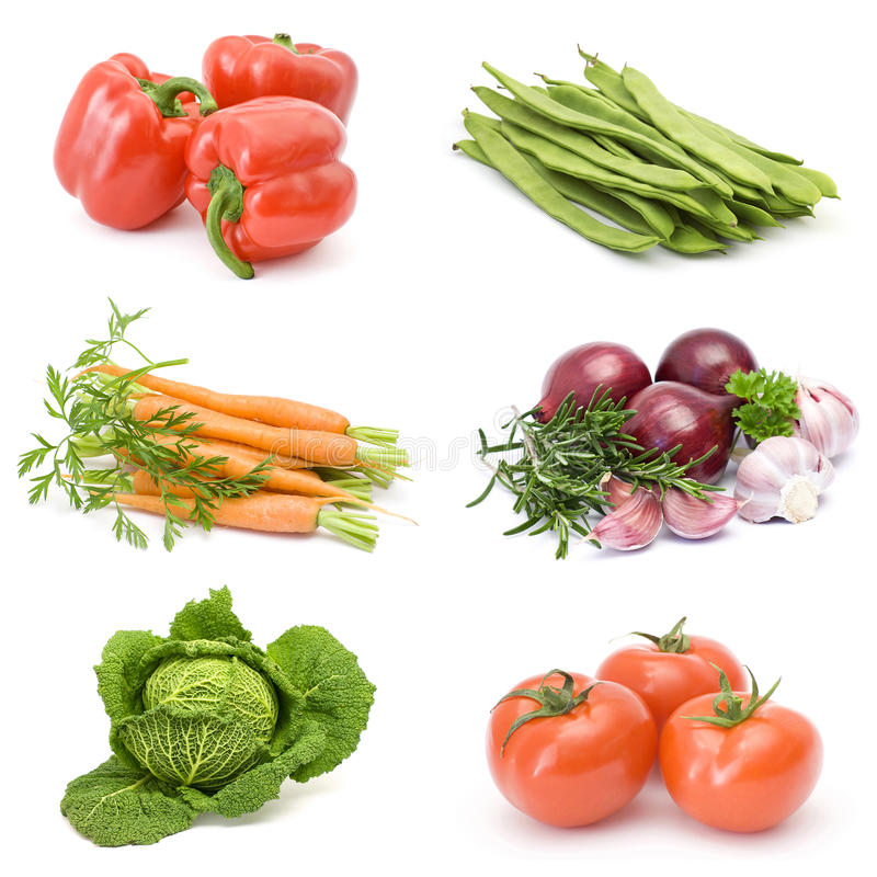 Collection of fresh vegetables royalty free stock photography