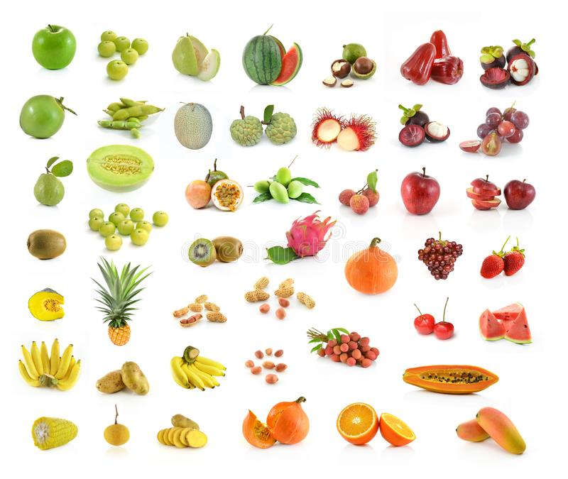 Collection of fruit isolated on white background stock image