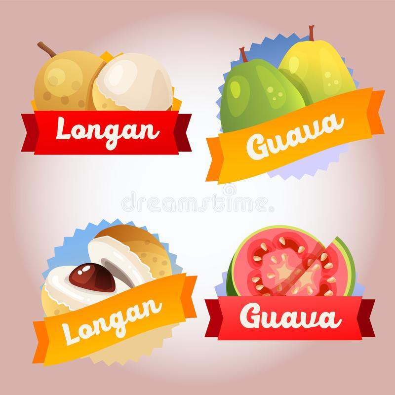 Collection fruit longan and guava badge royalty free illustration