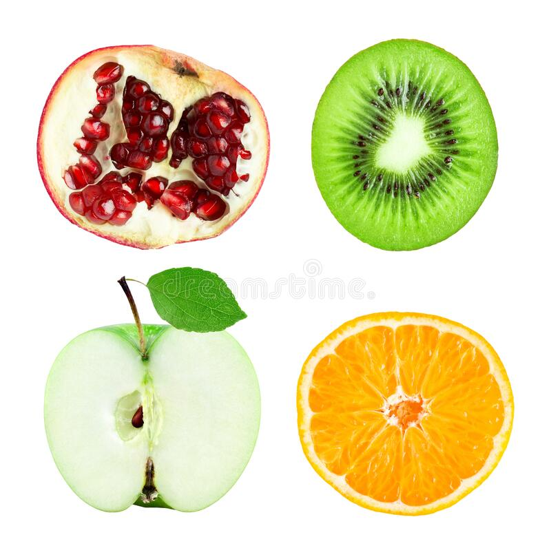 Collection of fruit slices isolated on white stock photography