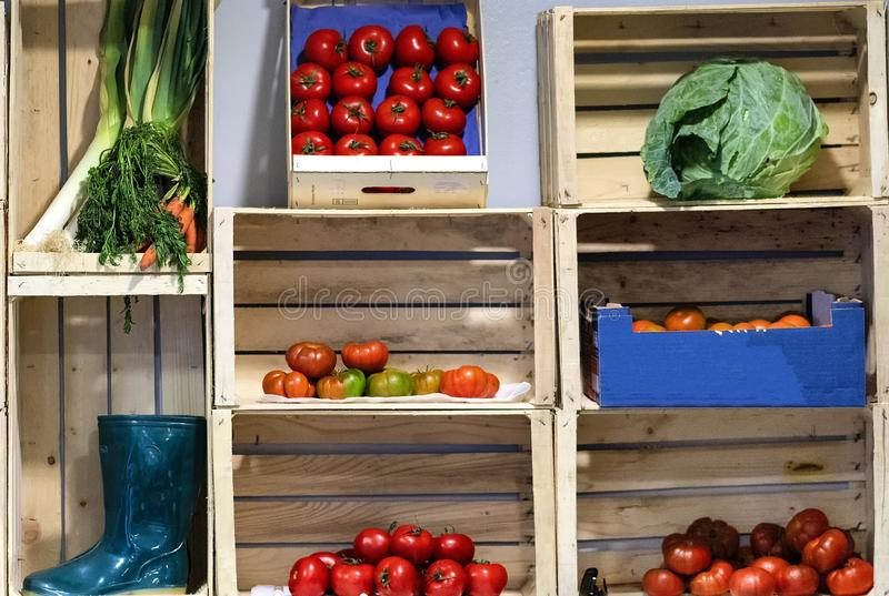 Collection of fruit and vegetables in boxes stock photo