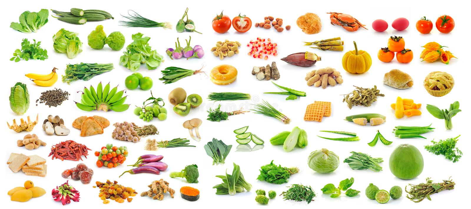 Collection of fruit and Vegetables on white background. Collection of fruit and Vegetables isolated on white background royalty free stock images