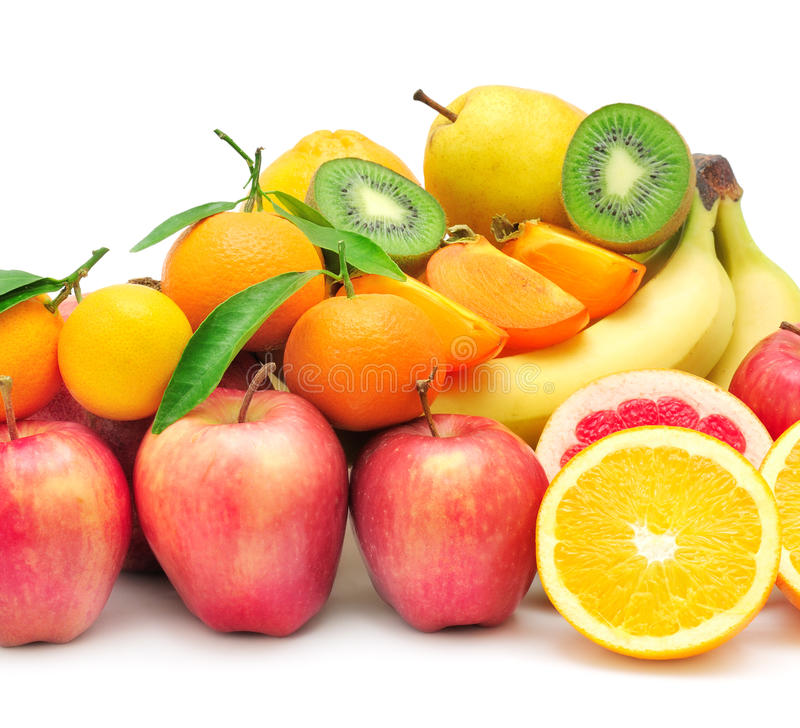Collection fruit. On white background stock images