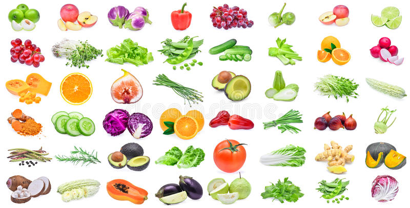 Collection of fruits and vegetables isolated on white background stock photography