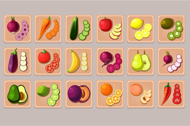 Flat vector set of fruits and vegetables on wooden cutting boards. Natural and tasty products. Cooking ingredients. Food. Collection of fruits and vegetables on stock illustration