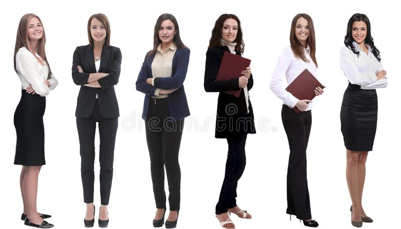 Collection of full-length portraits of young business women royalty free stock image
