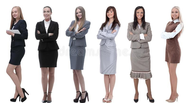 Collection of full-length portraits of young business women royalty free stock photo