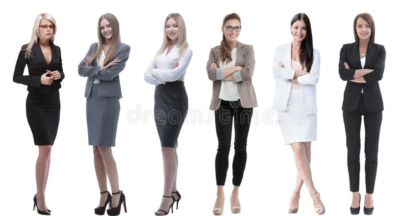 Collection of full-length portraits of young business women royalty free stock photos