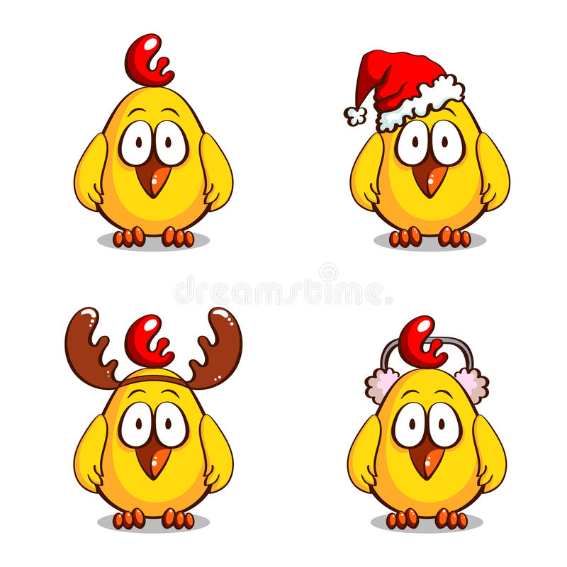 Collection Funny Christmas Chicks royalty free illustration