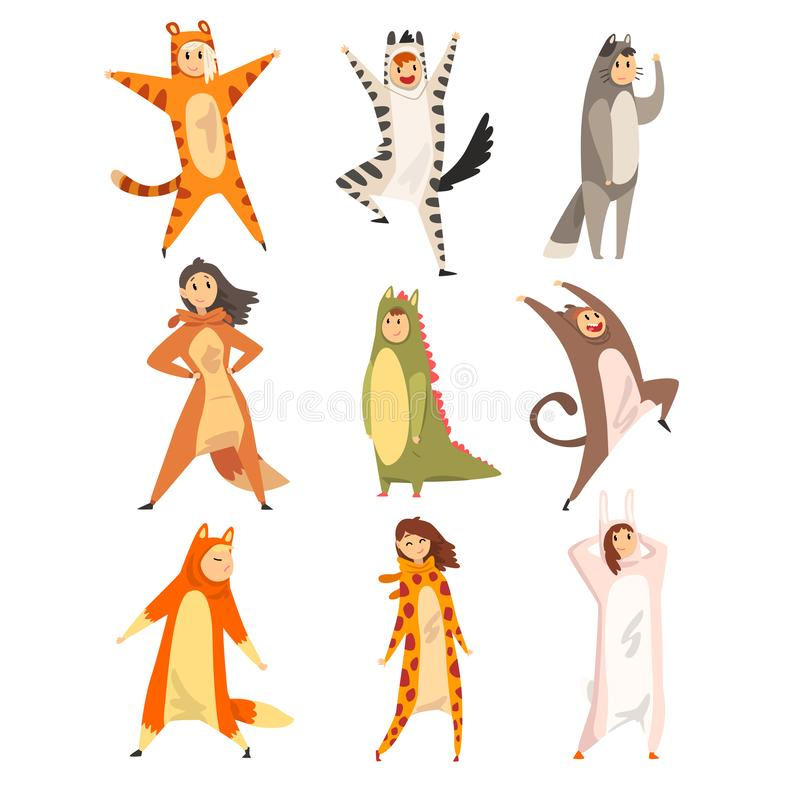 Collection of funny people in animal costumes, men and women in jumpsuits or kigurumis having fun vector Illustration on. Collection of funny people in animal royalty free illustration