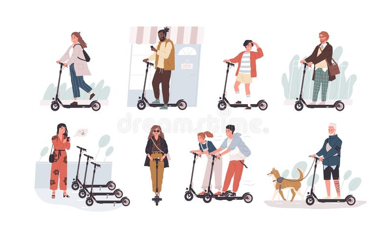 Collection of funny people riding kick scooters isolated on white background. Bundle of young and elderly men and women. And children on modern personal stock illustration