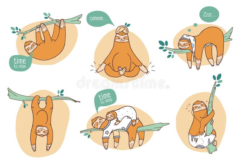 Collection of funny sloths in different postures. Lazy exotic animal sleeping, napping and relaxing on tropical tree royalty free illustration