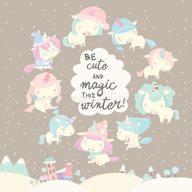 Collection of funny unicorn on gray winter background stock illustration