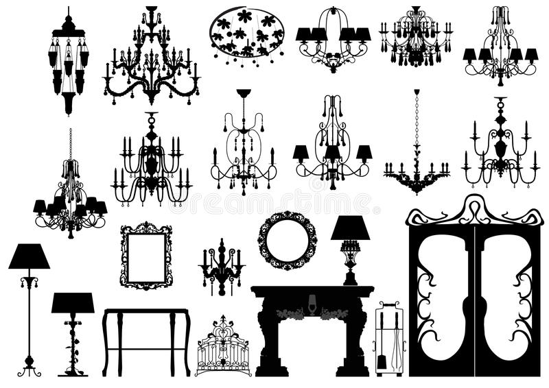 Collection of furniture silhouettes royalty free illustration