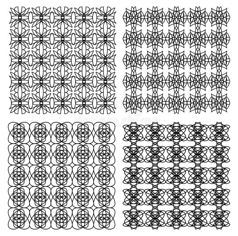 Collection géométrique de modèles de vintage noir et blanc, ornement fin illustration stock