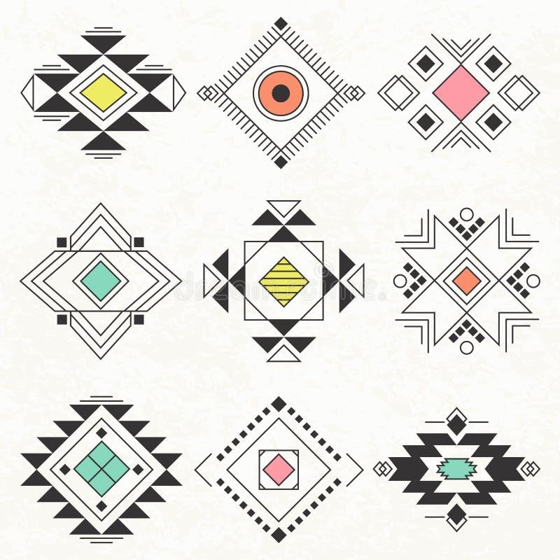 Collection géométrique tribale d'éléments illustration stock