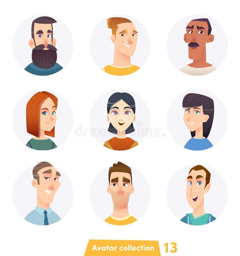 Collection gaie d'avatar de personnes Visages d'utilisateur Style moderne à la mode Conception de personnage de dessin animé plat illustration stock