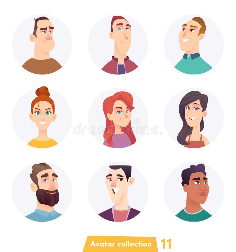 Collection gaie d'avatar de personnes Visages d'utilisateur Style moderne à la mode Conception de personnage de dessin animé plat illustration de vecteur