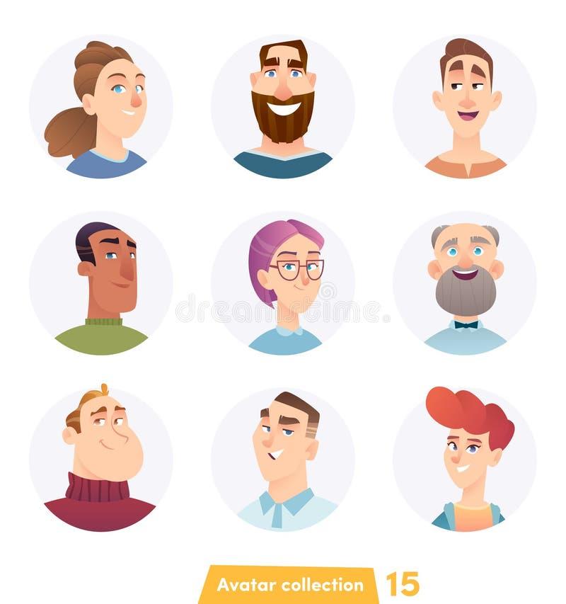 Collection gaie d'avatar de personnes Visages d'utilisateur Style moderne ? la mode Conception de personnage de dessin anim? plat illustration de vecteur