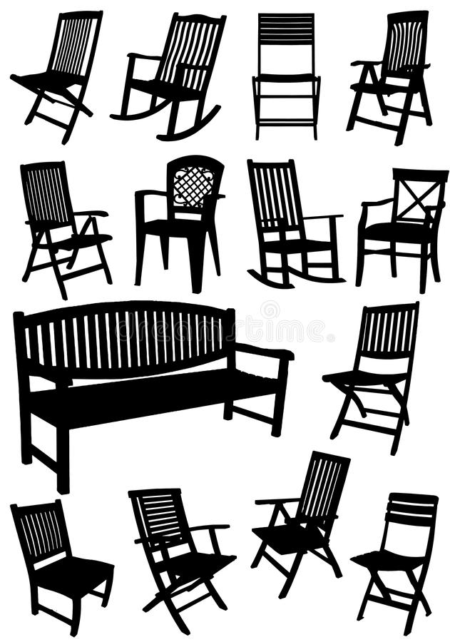 Collection of garden chairs and benches silhouettes royalty free illustration
