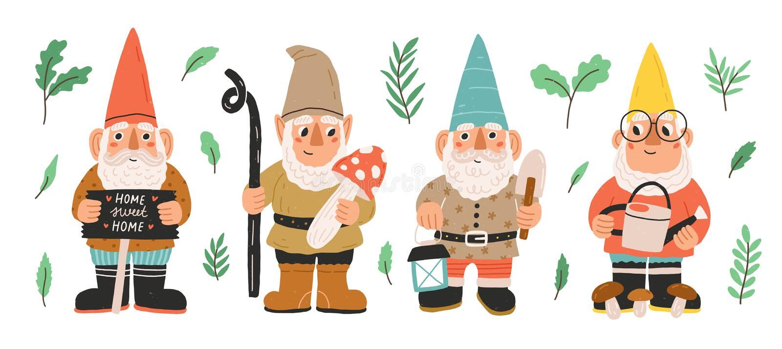 Collection of garden gnomes or dwarfs holding lantern, banner, mushroom, watering can. Set of cute fairytale characters vector illustration