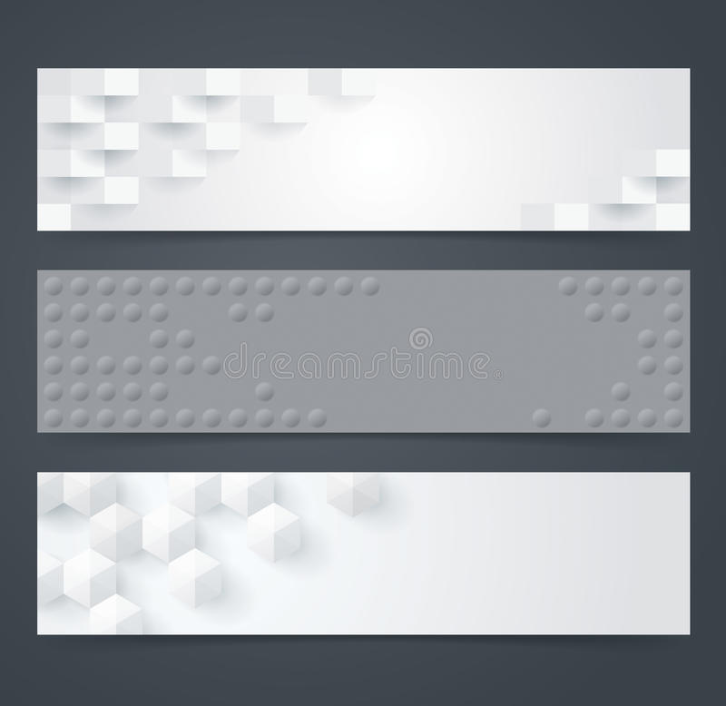 Collection of geometric black and white banner. royalty free illustration