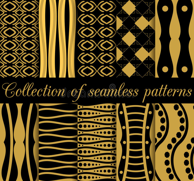 Collection of geometric seamless patterns in art deco style. stock illustration