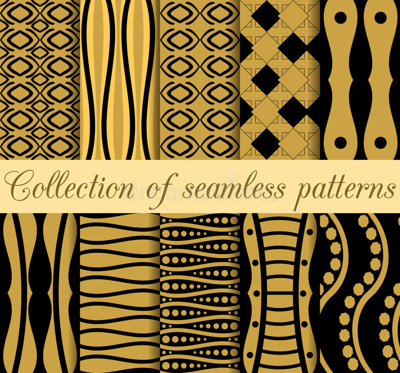 Collection of geometric seamless patterns in art deco style. royalty free illustration