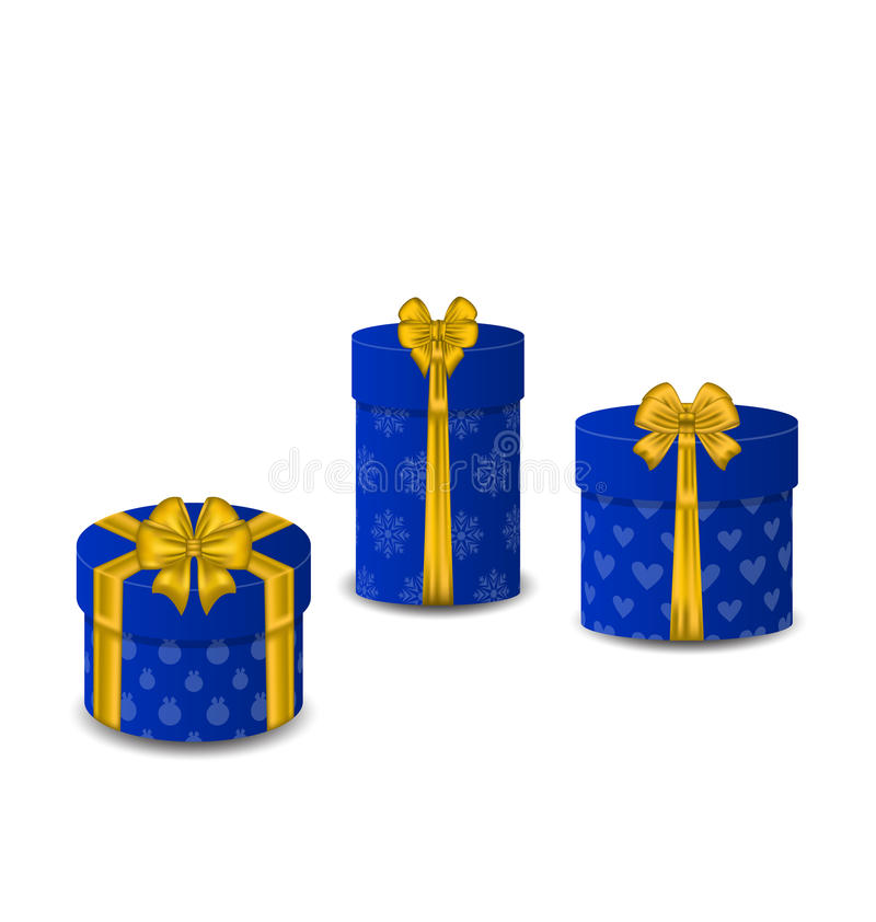 Collection gift boxes isolated on white baclground stock illustration