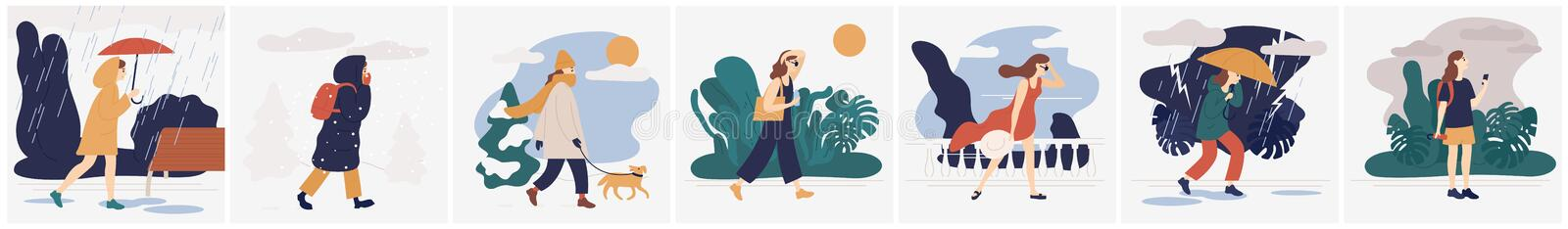 Collection of girl in various weather conditions. Bundle of young woman wearing seasonal clothes and walking on street. In rain, snowfall, summer heat. Colorful stock illustration