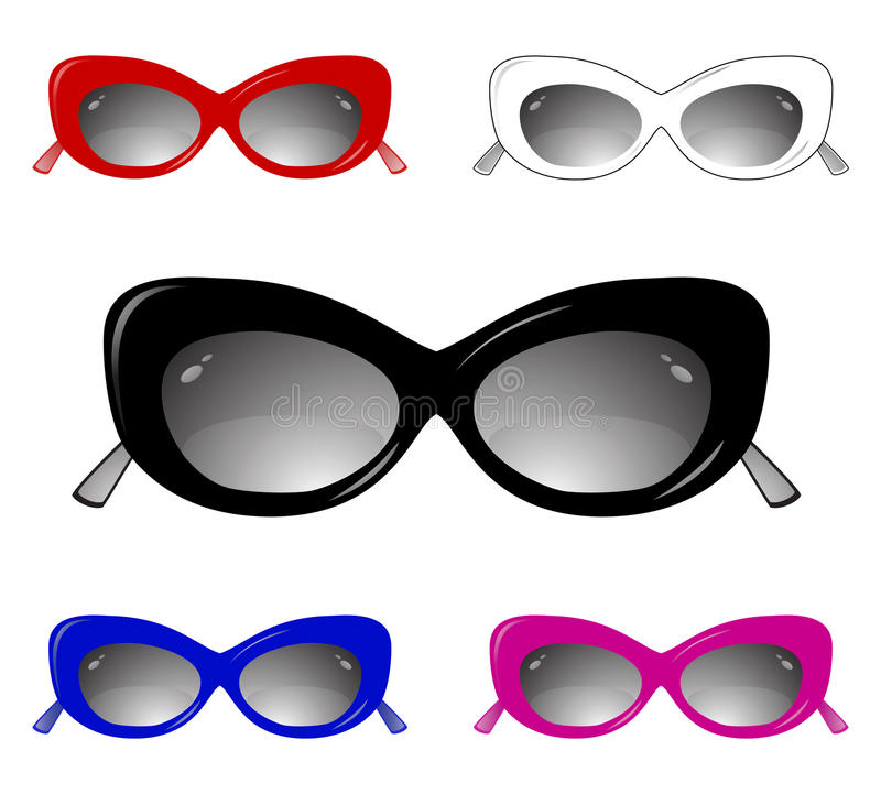 Collection of glamour sun glasses vector illustration