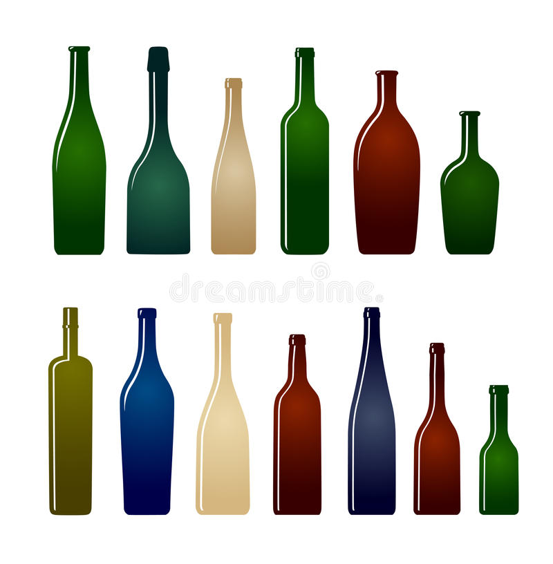 Collection of glass bottles royalty free illustration