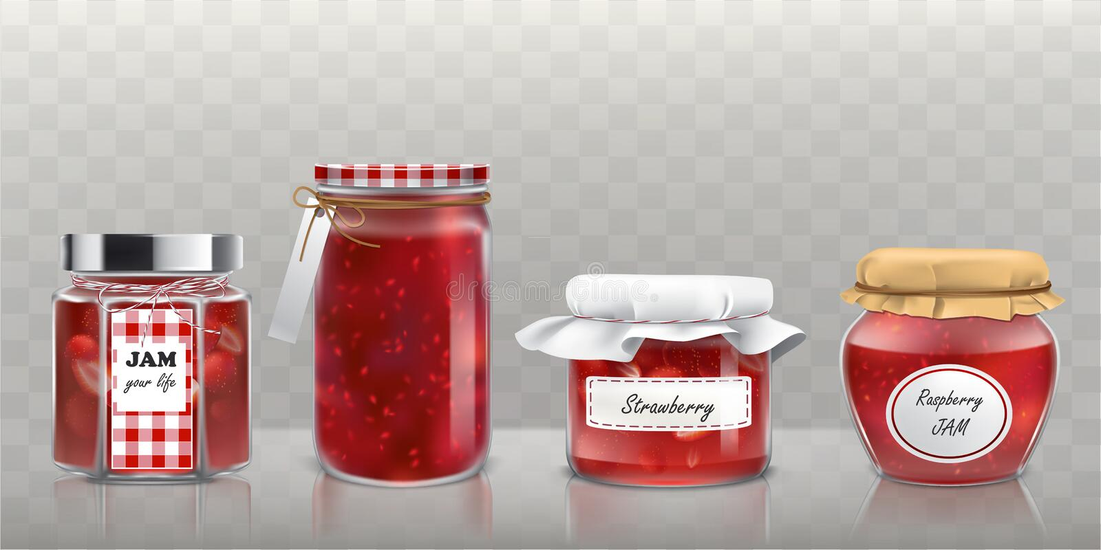 Collection of glass jars with jam in a realistic style stock image