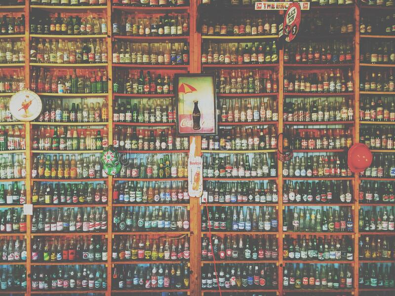 Collection Of Glass Soda And Beer Bottles On Shelves Free Public Domain Cc0 Image