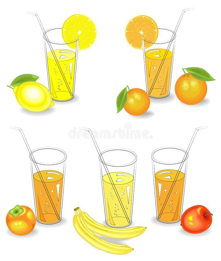 Collection. Glasses of natural fruit juice lemon, mandarin, banana, apple, persimmon. Vector illustration, set vector illustration