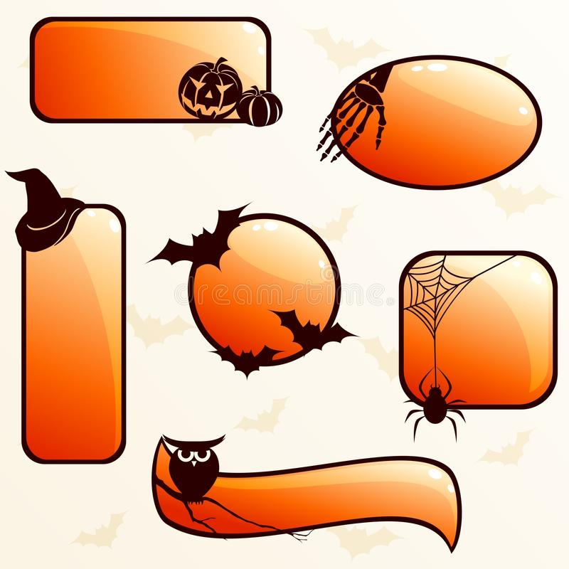 Collection of glossy halloween banners stock illustration
