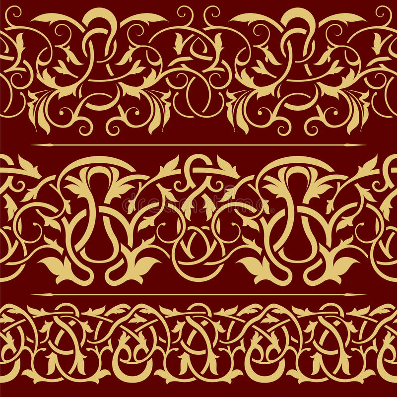 Collection of gold floral seamless border vector illustration