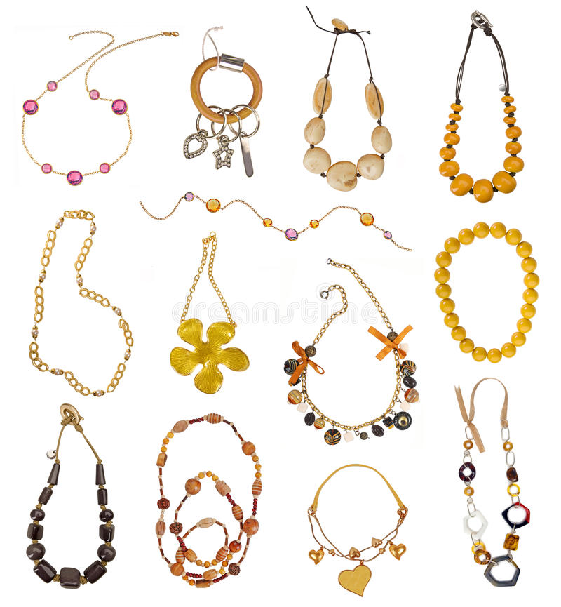 Collection of gold necklaces royalty free illustration
