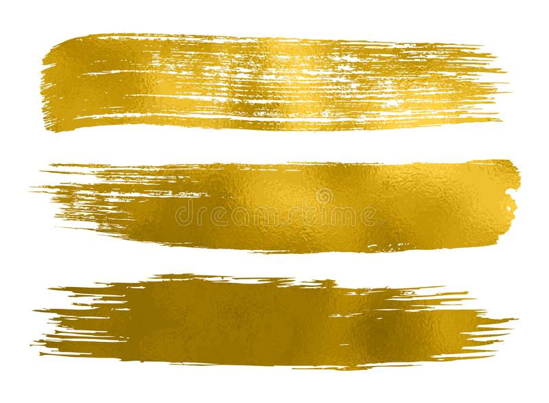 Collection of gold paint, brush strokes – vector. Collection of gold paint, brush strokes – stock vector stock photography