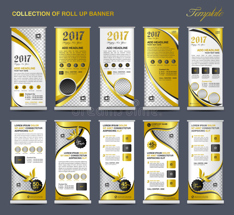 Collection Gold Roll Up Banner Design stand template, flyers royalty free illustration