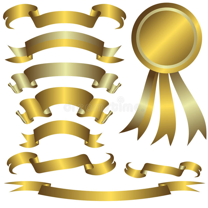 Download Collection Of Gold And Silver Ribbons Royalty Free Stock Images - Image: 10985149