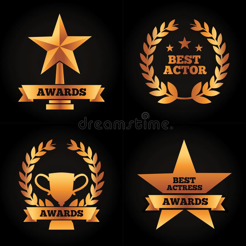 Collection gold trophies star cup laurel awards best actor actress. Vector illustration black background royalty free illustration