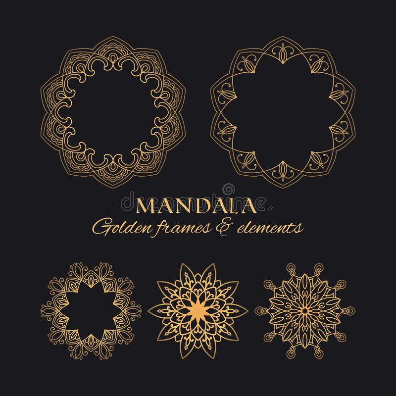 Collection of golden decorative graphic elements on black background for brands, logos and identity. Mandala vector round frames luxury design set. Collection of stock illustration