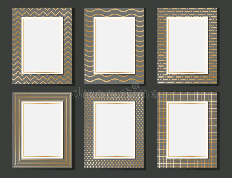 Collection of golden luxury abstract blank template design vector illustration