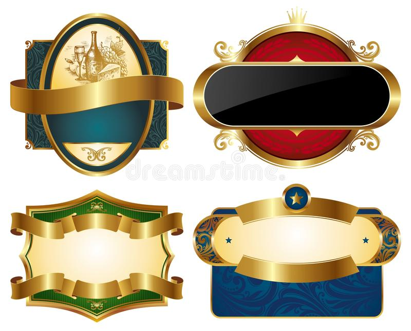 Collection of golden ornate labels stock illustration