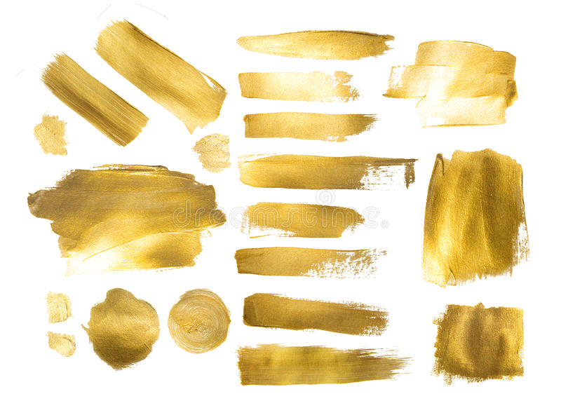 Collection of golden paint strokes to make a background. For your design stock image