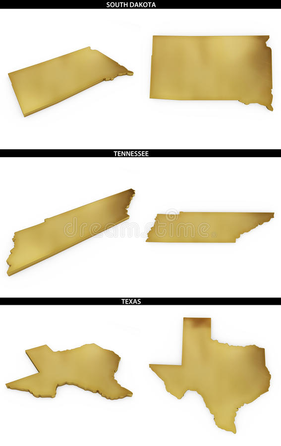 A collection of golden shapes from the US American states South Dakota, Tennessee, Texas vector illustration