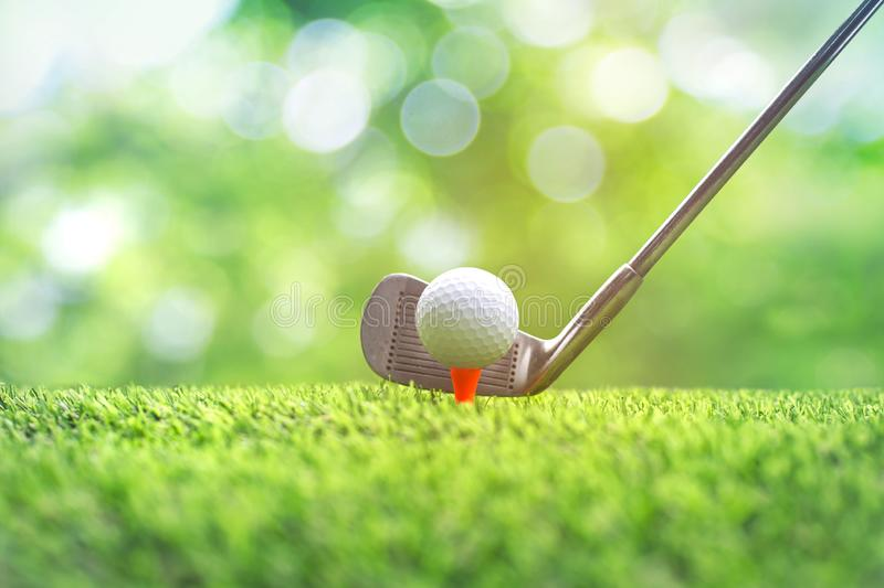Collection of golf equipment resting on green grass. Blurred golf club and golf ball close up in grass field with sunset stock images